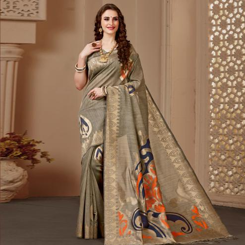 Preferable Chiku Colored Festive Wear Woven Art Silk Saree