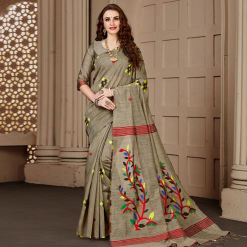 Marvellous Chiku Colored Festive Wear Woven Art Silk Saree