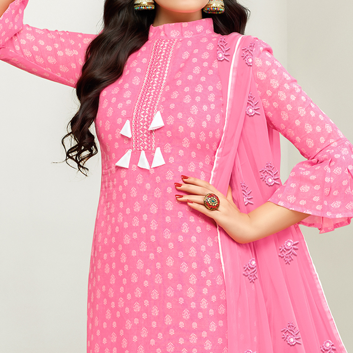 Gorgeous Pink Colored Casual Printed Cotton Satin Suit