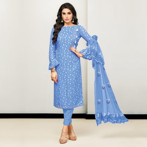 Blissful Blue Colored Casual Printed Cotton Satin Suit