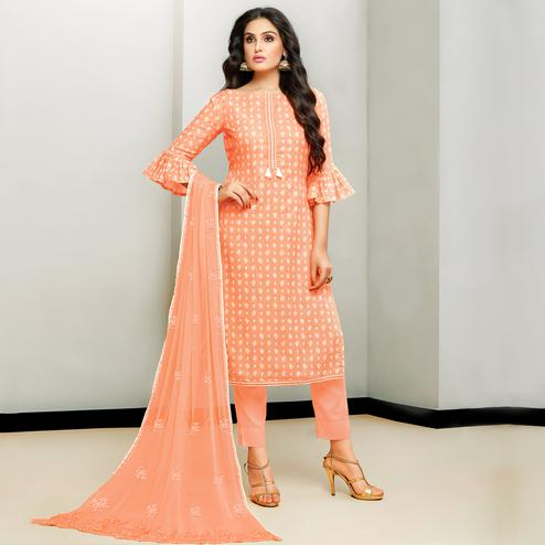 Ideal Peach Colored Casual Printed Cotton Satin Suit