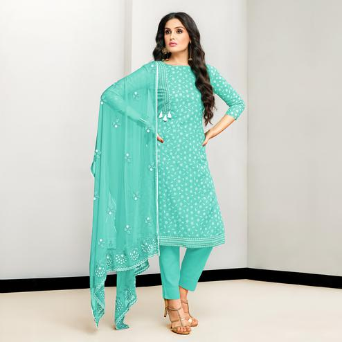 Imposing Aqua Blue Colored Casual Printed Cotton Satin Suit