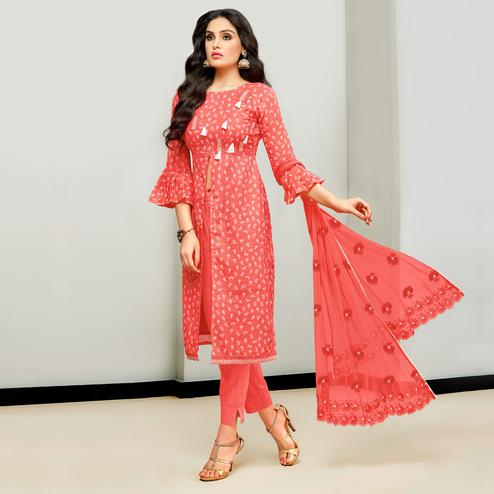 Lovely Coral Red Colored Casual Printed Cotton Satin Suit
