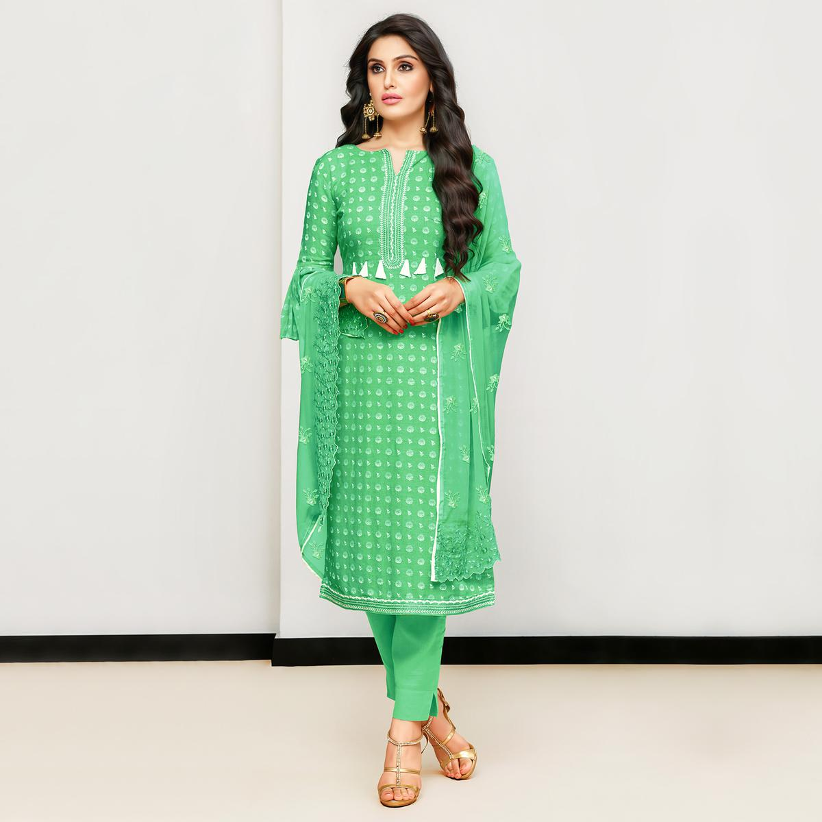 Majesty Green Colored Casual Printed Cotton Satin Suit