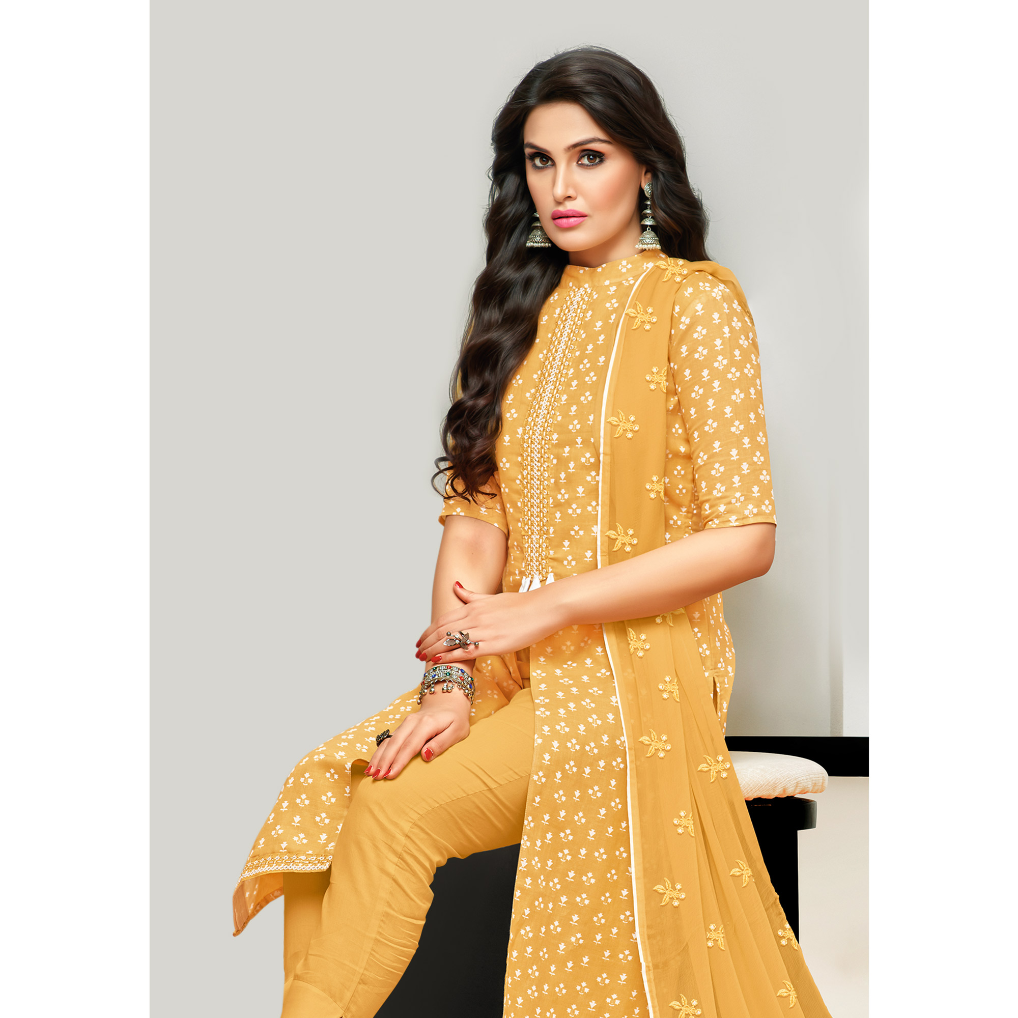 Impressive Yellow Colored Casual Printed Cotton Satin Suit