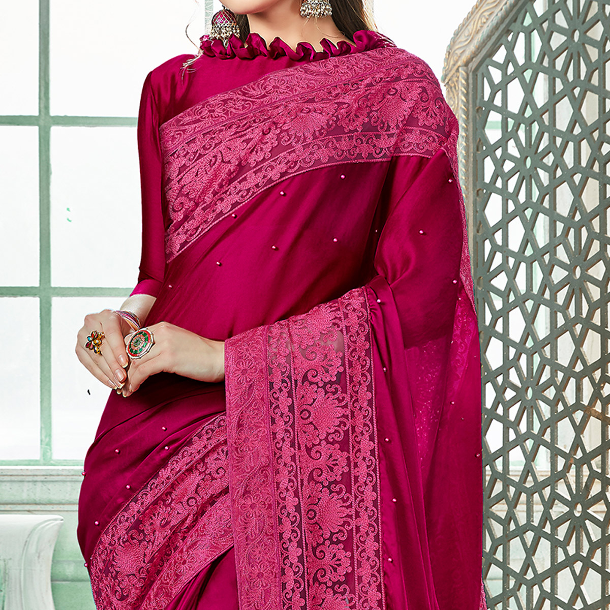 Engrossing Magenta Pink Colored Partywear Embroidered Georgette Saree