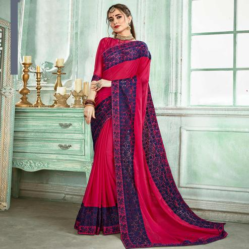 Amazing Pink Colored Partywear Embroidered Georgette Saree