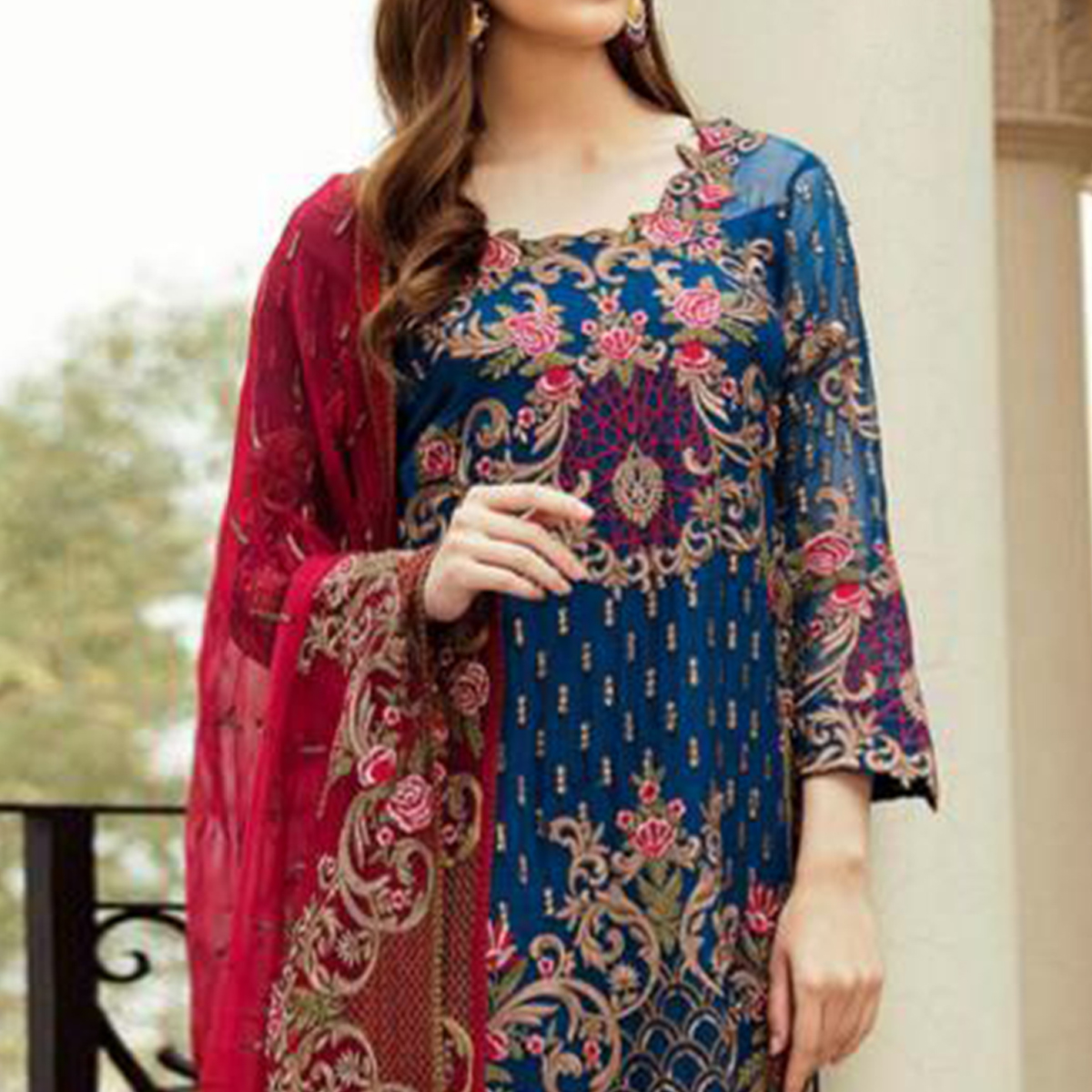 Desirable Blue Colored Partywear Embroidered Kashmiri Style Heavy Georgette Suit