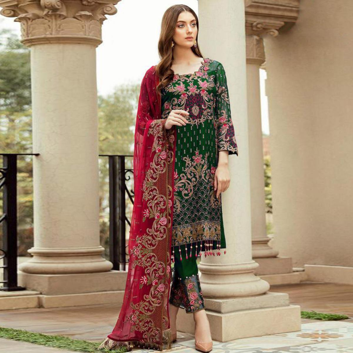 Exotic Green Colored Partywear Embroidered Kashmiri Style Heavy Georgette Suit