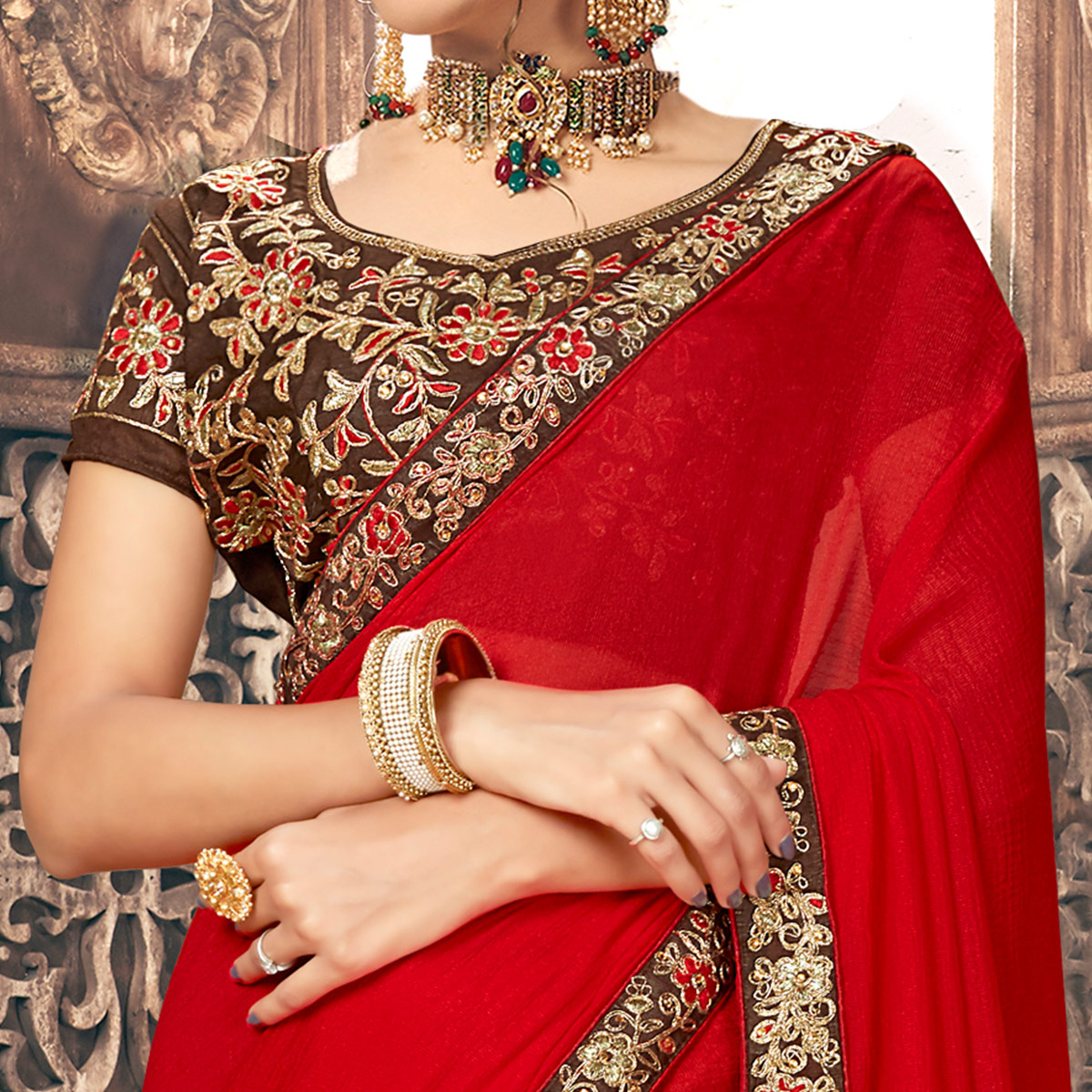 Exceptional Red Colored Partywear Embroidered Georgette Saree