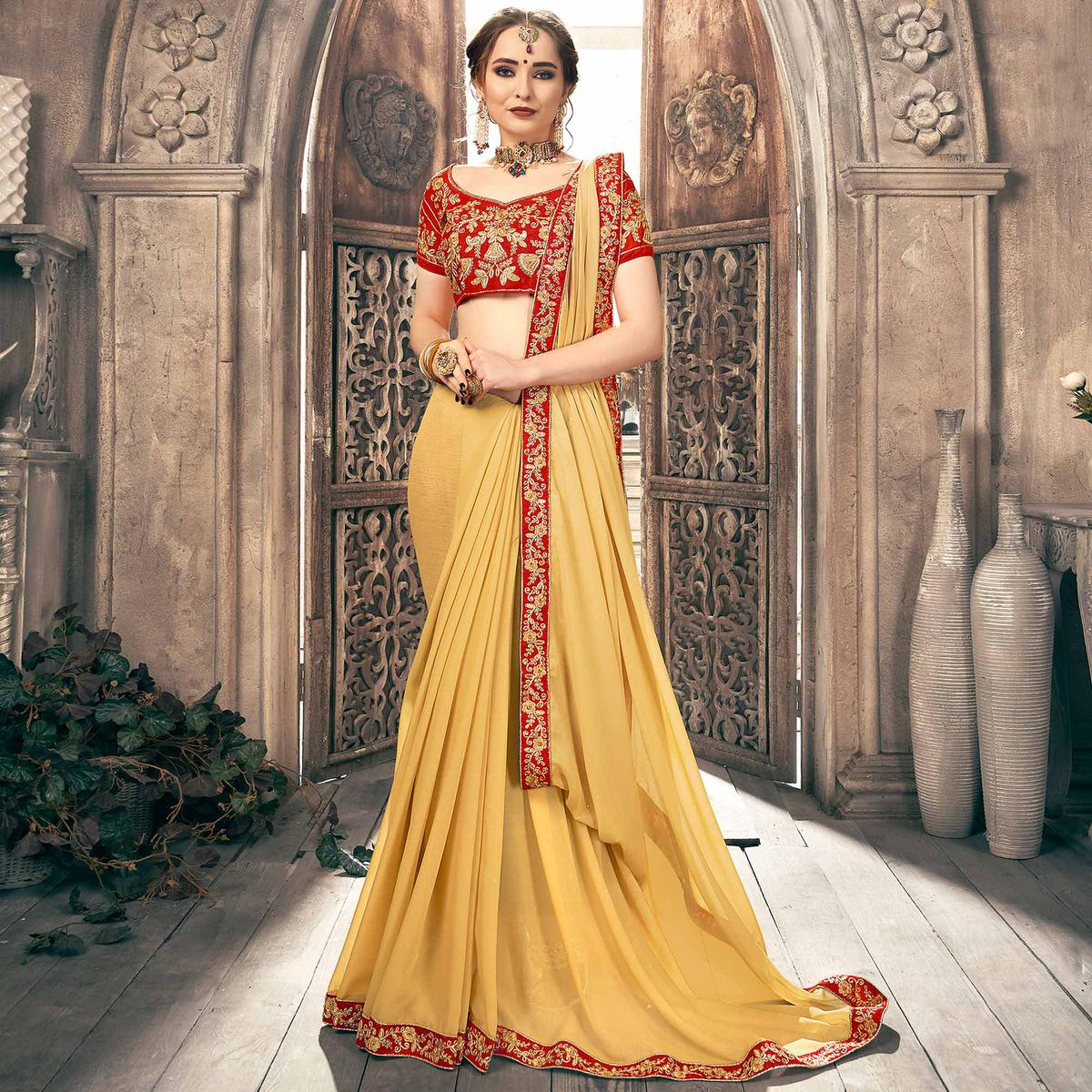Fantastic Beige Colored Partywear Embroidered Georgette Saree