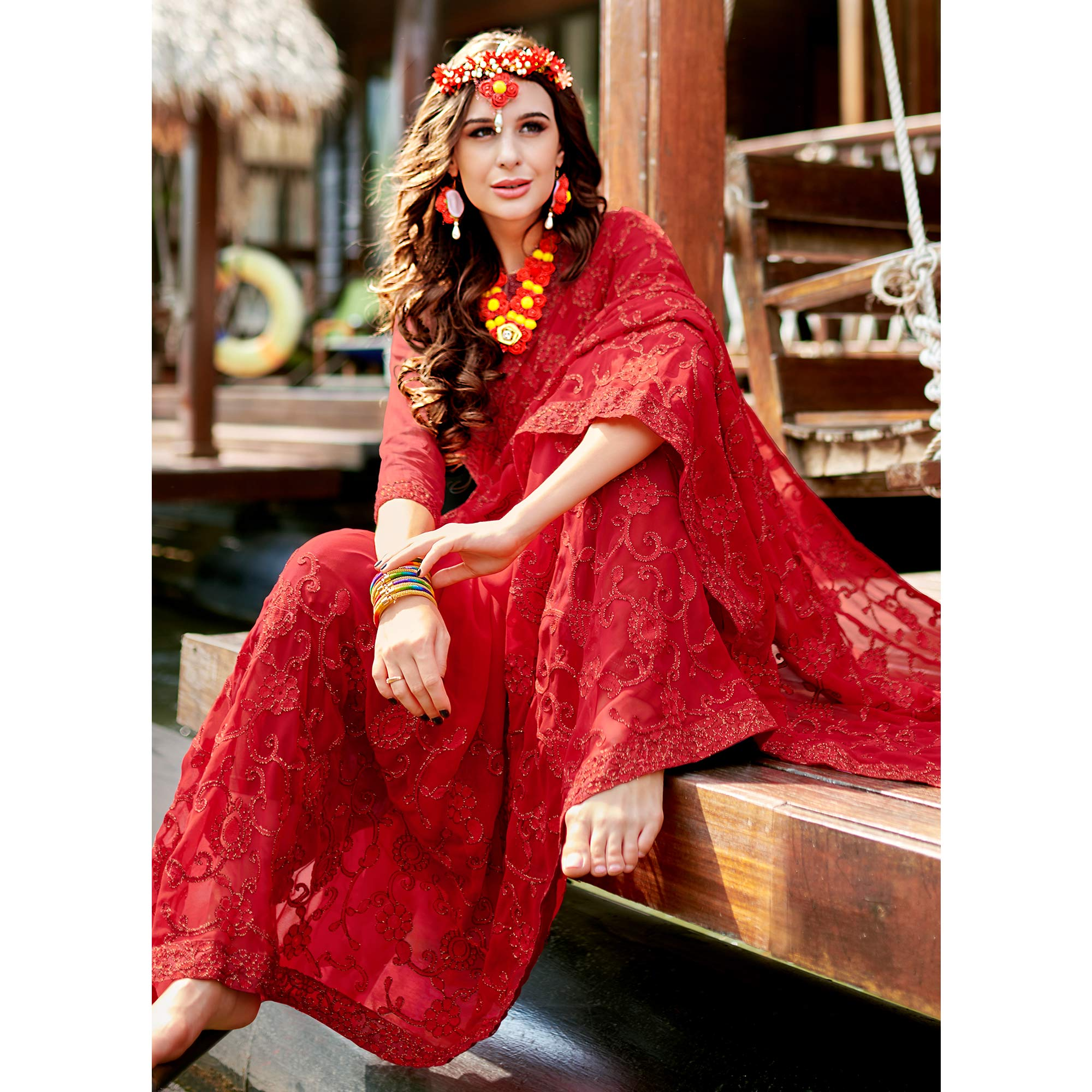Fantastic Red Colored Partywear Embroidered Georgette Saree