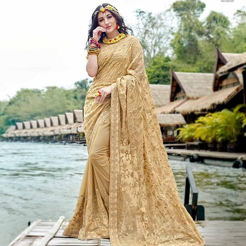 Blissful Beige Colored Partywear Embroidered Georgette Saree