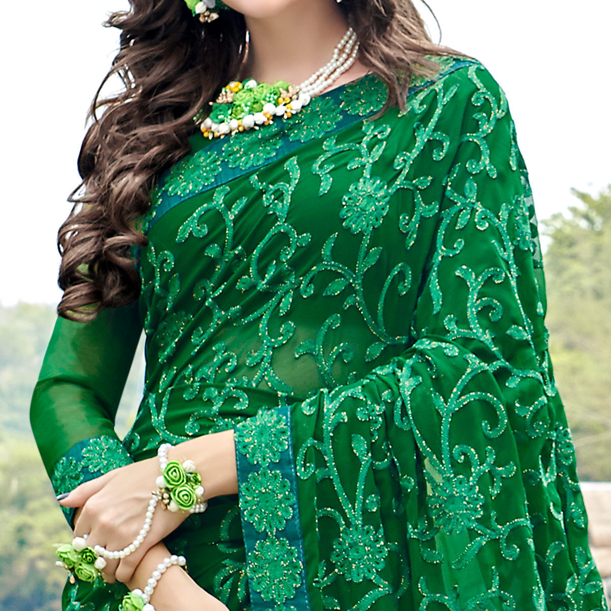 Lovely Green Colored Partywear Embroidered Georgette Saree