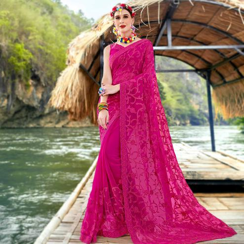 Impressive Rani Pink Colored Partywear Embroidered Georgette Saree
