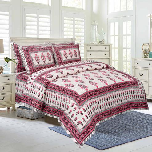 Impressive White-Pink Colored Floral Printed Pure Cotton Double Bedsheet With Pillow Cover