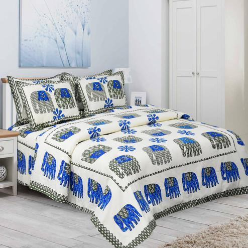 Blissful White-Blue Colored Elephant Printed Pure Cotton Double Bedsheet With Pillow Cover