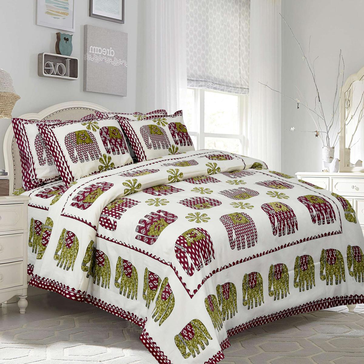 Amazing White-Maroon Colored Elephant Printed Pure Cotton Double Bedsheet With Pillow Cover
