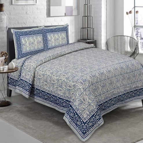 Innovative Grey Colored Paisley Printed Pure Cotton Double Bedsheet With Pillow Cover