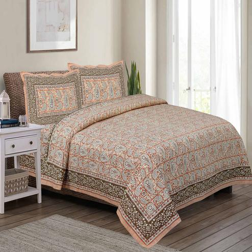 Captivating Brown Colored Paisley Printed Pure Cotton Double Bedsheet With Pillow Cover