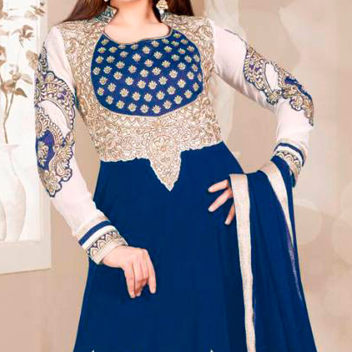 Blue Georgette Embroidered Anarkali Suit