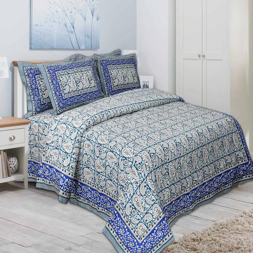 Engrossing Royal Blue Colored Paisley Printed Pure Cotton Double Bedsheet With Pillow Cover