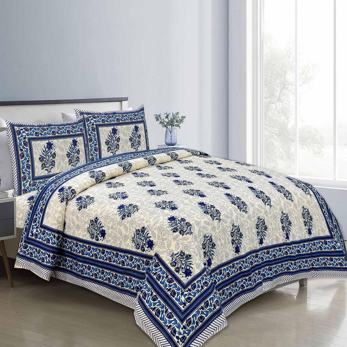 Magnetic Navy Blue Colored Floral Printed Pure Cotton Double Bedsheet With Pillow Cover