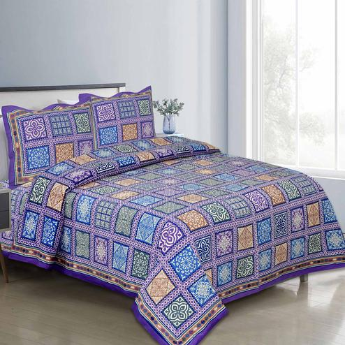 Flattering Blue Colored Multi Printed Pure Cotton Double Bedsheet With Pillow Cover