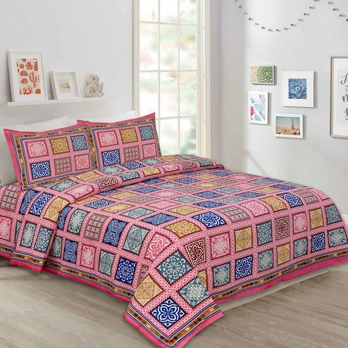 Majesty Pink Colored Multi Printed Pure Cotton Double Bedsheet With Pillow Cover