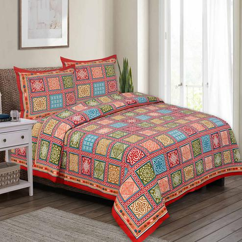 Impressive Red Colored Multi Printed Pure Cotton Double Bedsheet With Pillow Cover