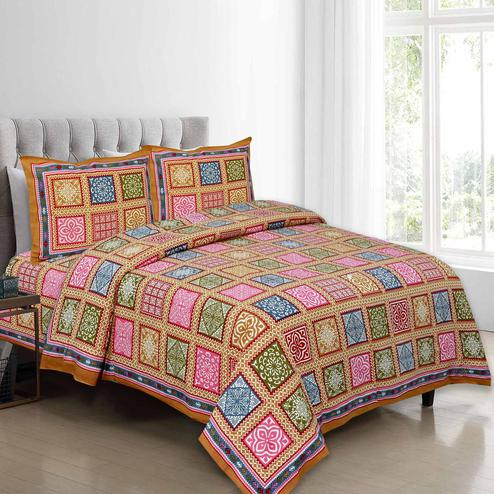 Excellent Orange Colored Multi Printed Pure Cotton Double Bedsheet With Pillow Cover