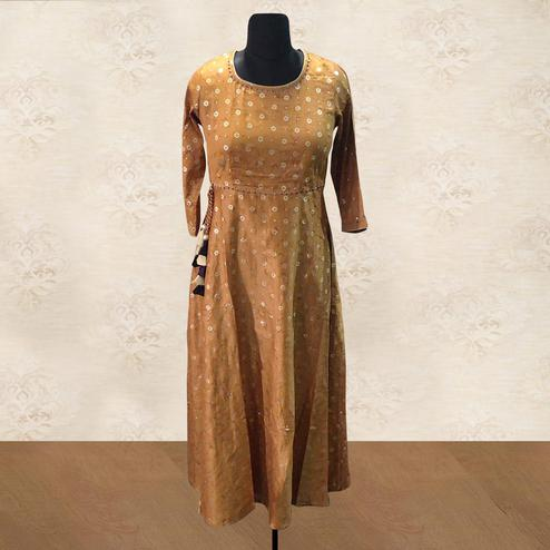 Adorning Dark Yellow Colored Casual Foil Printed Silk Long Kurti