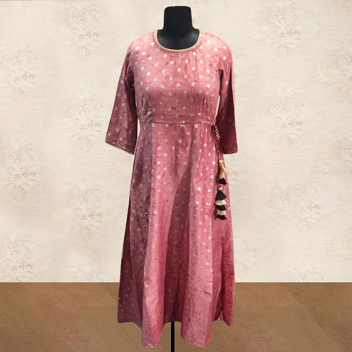 Glorious Pink Colored Casual Foil Printed Silk Long Kurti