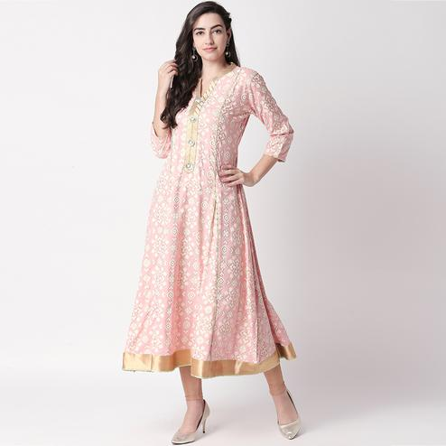 Attractive Pink Colored Casual Printed Silk Long Kurti