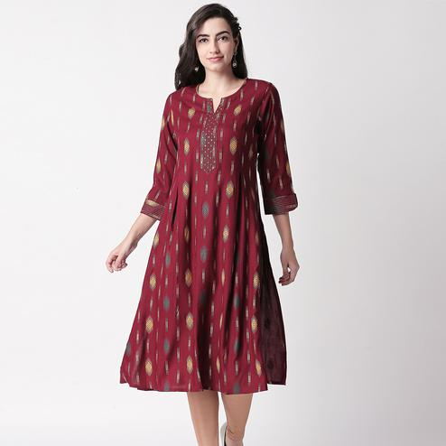 Desirable Maroon Colored Casual Printed Cotton Long Kurti
