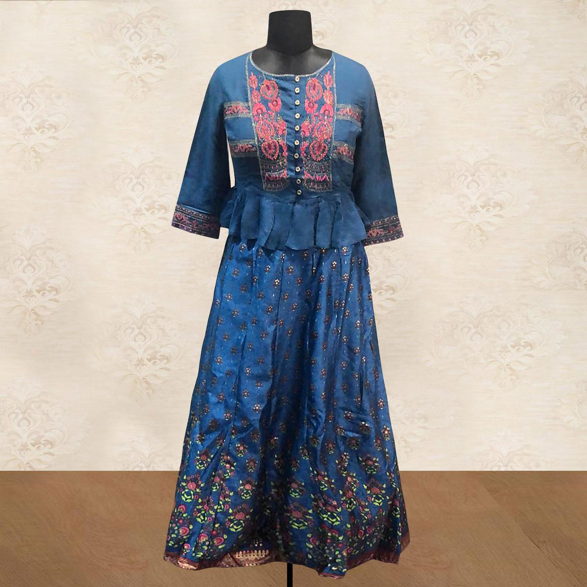 Graceful Blue Colored Partywear Embroidered Silk Lehenga Choli