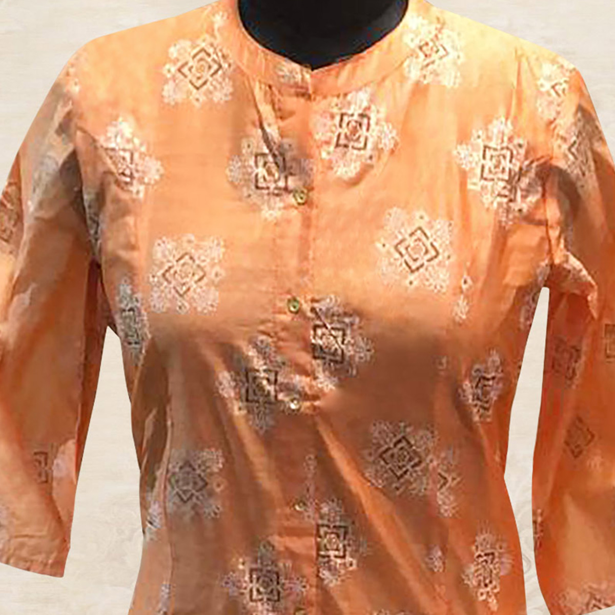 Blooming Peach Colored Partywear Printed Cotton Kurti