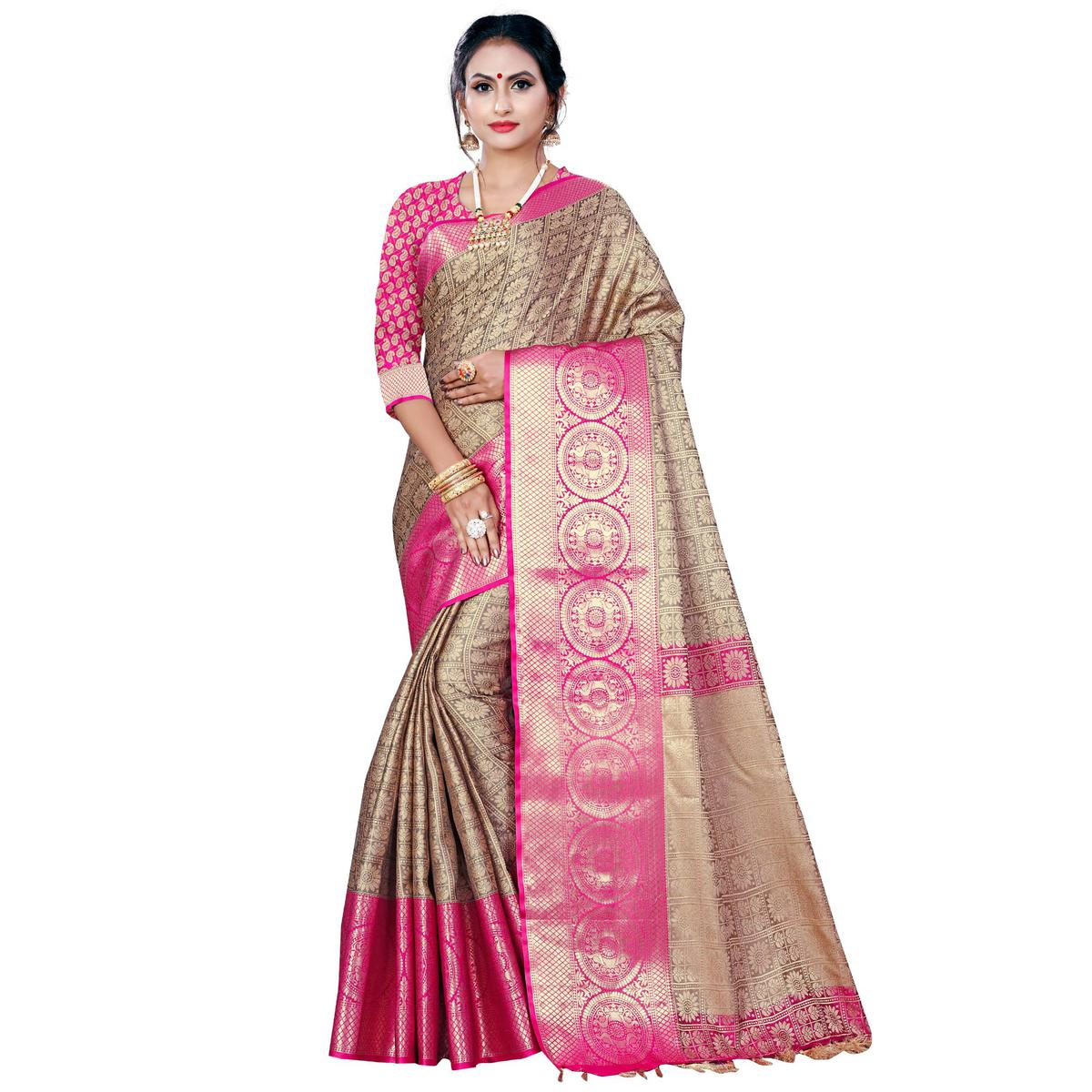 Graceful Chiku Colored Festive Wear Woven Banarasi Silk Saree