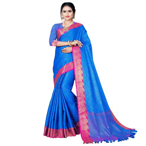 Blooming Blue Colored Festive Wear Woven Banarasi Silk Saree