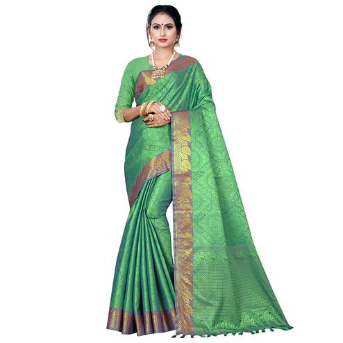 Jazzy Green Colored Festive Wear Woven Banarasi Silk Saree