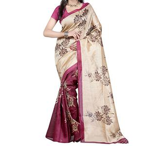 Tan - Deep Magenta Bhagalpuri Saree