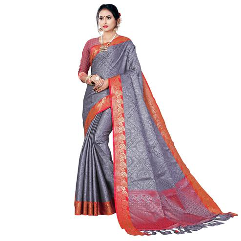 Delightful Grey Colored Festive Wear Woven Banarasi Silk Saree