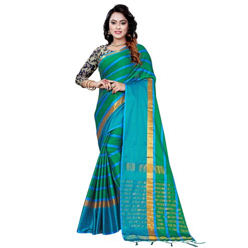 Innovative Turquoise Green Colored Festive Wear Printed Cotton Saree