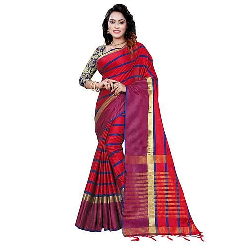 Eye-catching Red Colored Festive Wear Printed Cotton Saree