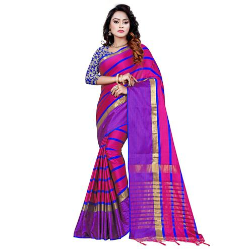 Fantastic Pink Colored Festive Wear Printed Cotton Saree