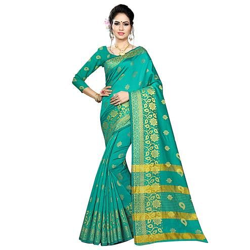 Exceptional Turquoise Green Colored Festive Wear Woven Silk Saree