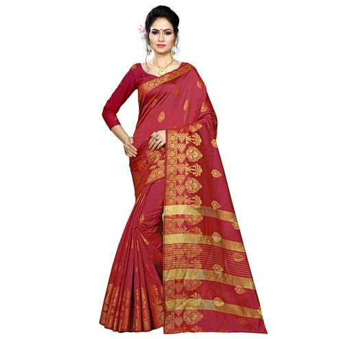 Energetic Maroon Colored Festive Wear Woven Silk Saree