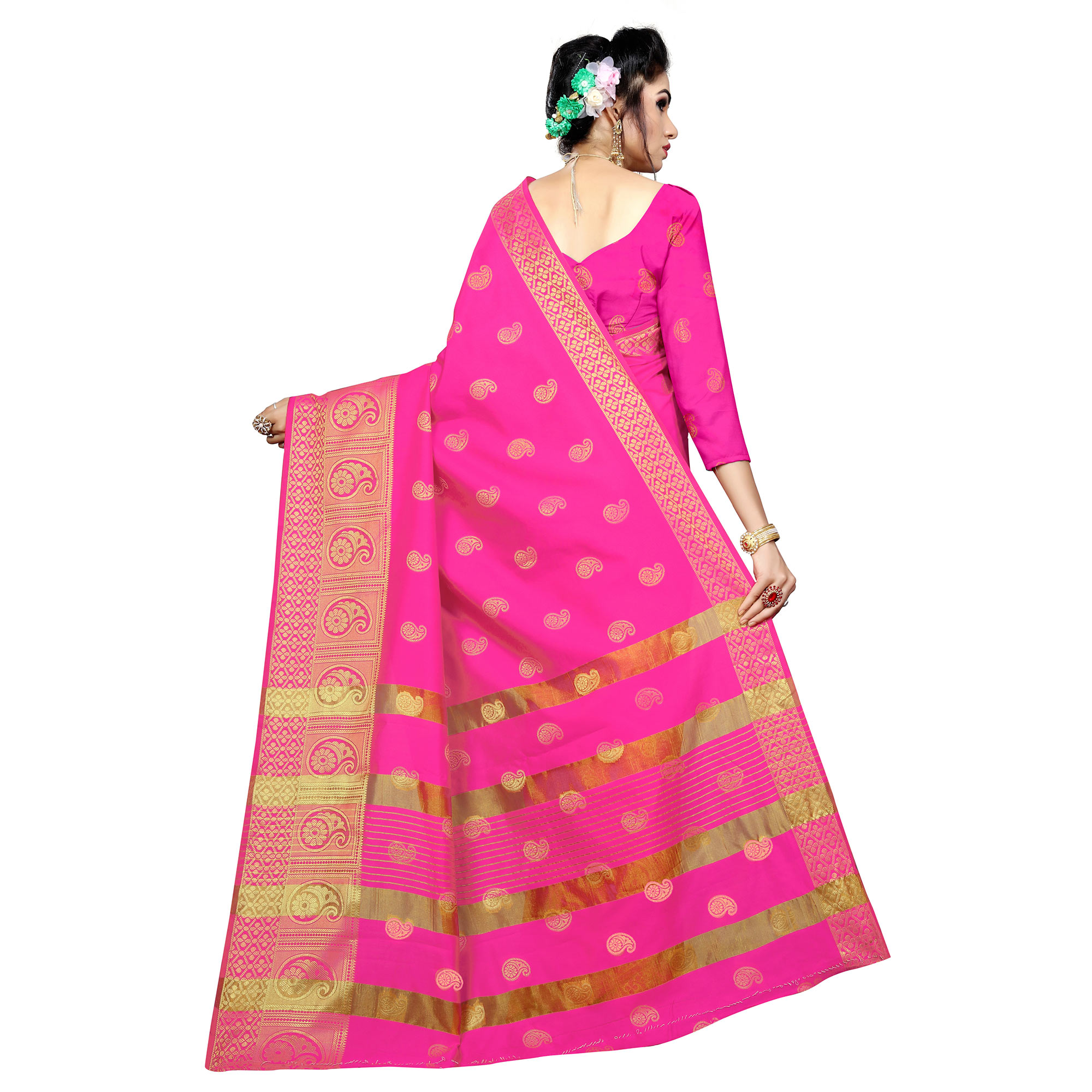 Pleasant Pink Colored Festive Wear Woven Silk Saree