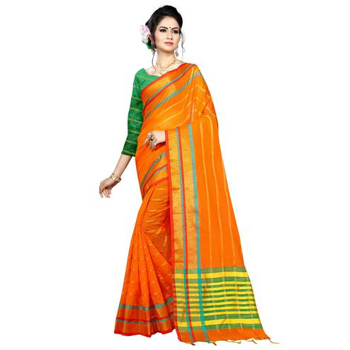 Mesmeric Orange Colored Festive Wear Woven Poly Silk Saree