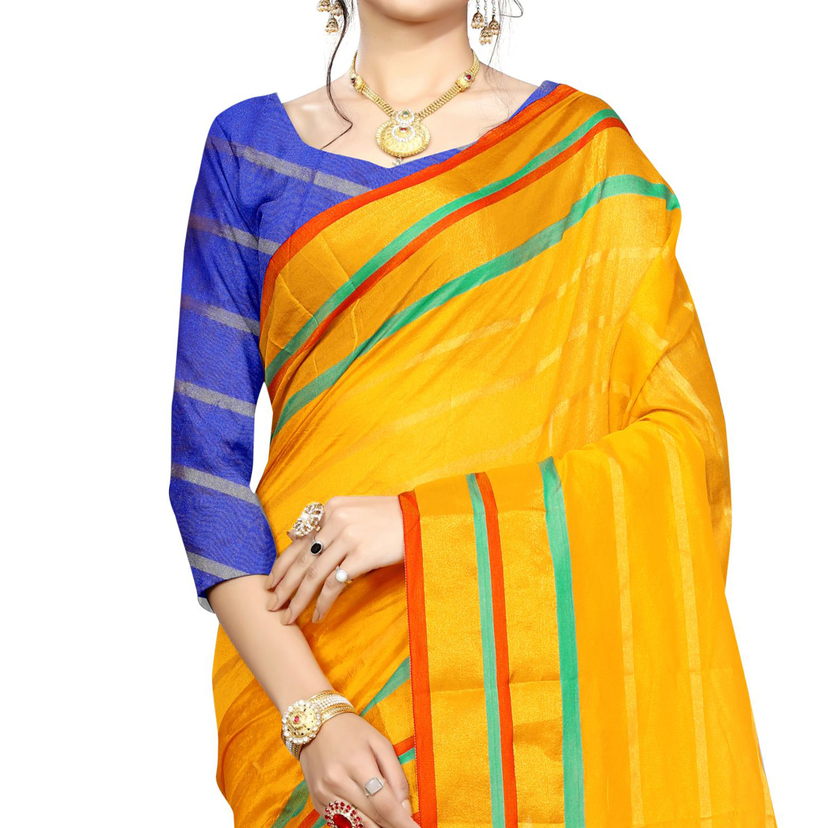 Unique Yellow Colored Festive Wear Woven Poly Silk Saree